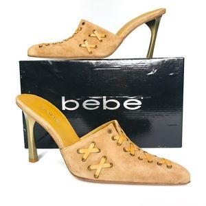 bebe Launa Cognac Suede Brown Heels +Box SH0843